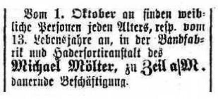 Die junge Firma Mölter in Zeil suchte 1866 im Bamberger Anzeiger Mädchen ab 13 Jahre für ihre Fabrik in der Scheuerngasse.