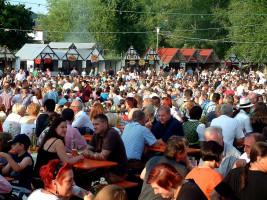 Die kurzen Wege zu den Imbissbuden sind ein Plus des Sander Altmain-Weinfestplatzes