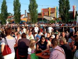 Durch ihre Fahnen am Sander Altmain-Weinfestplatz wiesen die ILE-Gemeinden auf ihre gute Zusammenarbeit hin